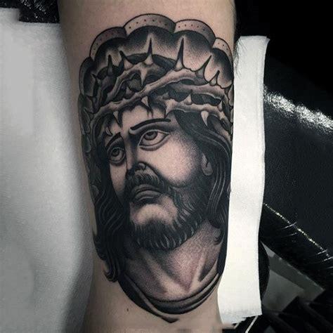 jesus tattoo on man s arm 100 jesus tattoos for men cool savior ink design ideas
