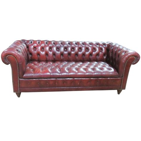 Red Leather Chesterfield Sofa For Sale At 1stdibs Chesterfield Leather Sofas For Sale