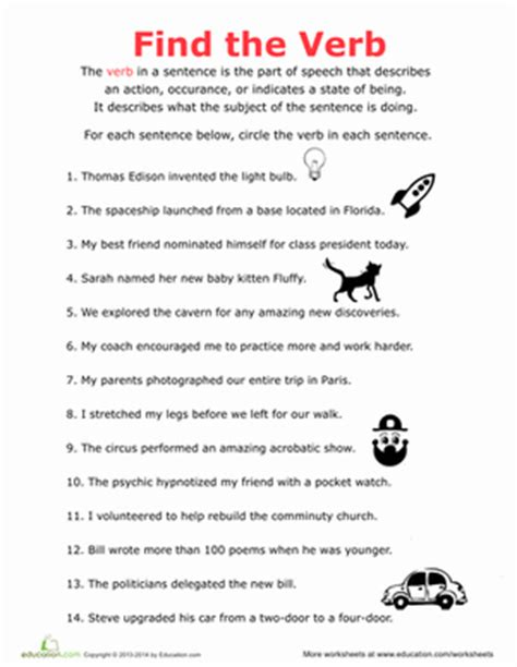 Third Grade Grammar Worksheets by Find The Verb Worksheet Education