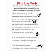 Find The Verb  Worksheet Educationcom