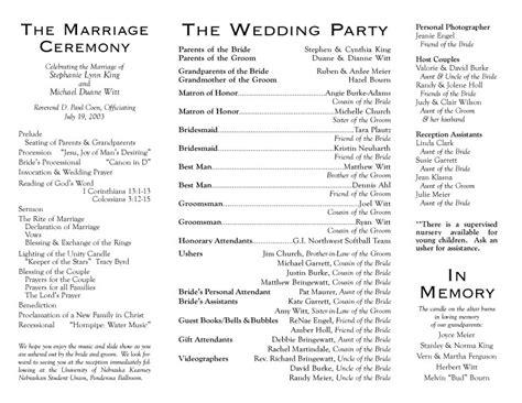 Wedding Ceremony Program Wording by Wedding Program Wording Exles World Of Exles