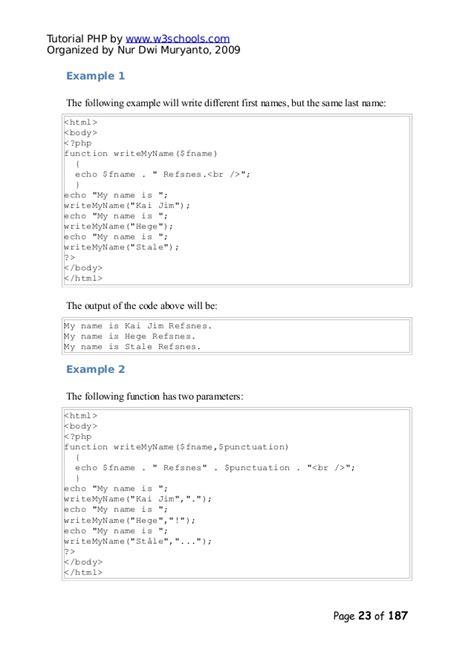 tutorial php w3schools php tutorial w3schools
