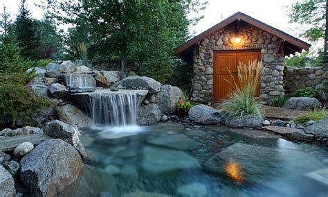Waterfall Design Ideas by Gas Features Outdoors Pools With Waterfall