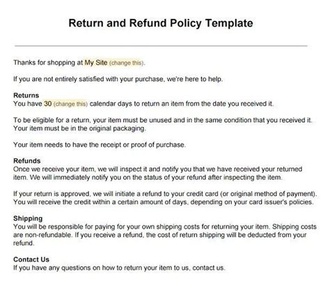 refund cancellation policy template sle return policy for ecommerce stores termsfeed
