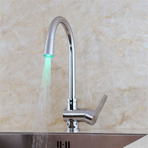 led kitchen faucet led swiveling spout kitchen faucet modern chrome