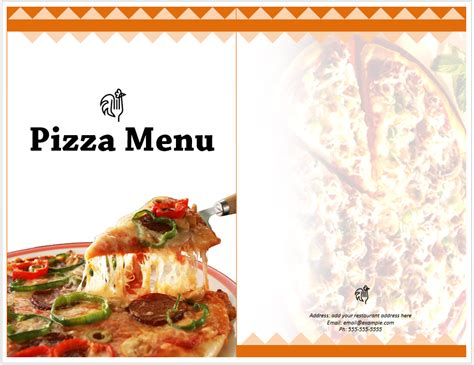 pizza menu template word pizza menu template format template