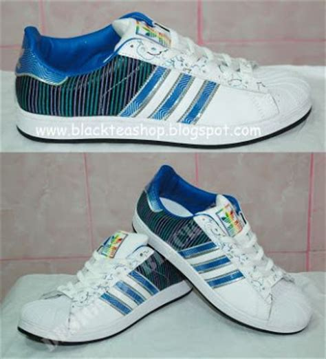 Adidas Superstar Garis Biru blacktea shop jual sepatu sneaker adidas superstar