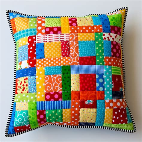 Patchwork Pillow - scrappy quilted patchwork pillows