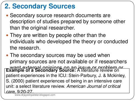 Primary Secondary Sources Research Paper by Literature Review In Research