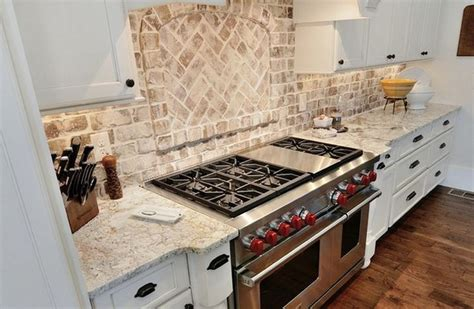 kitchen brick backsplash ideas white springs granite with backsplash brick backsplash