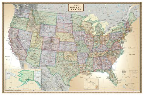 united states wall maps swiftmaps united states executive modern day antique wall map