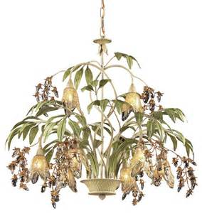 Tropical Chandelier Elk Lighting 86054 Huarco Seashell 8 Light Chandelier