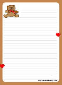 Letter Paper Template by Teddy Writing Paper For