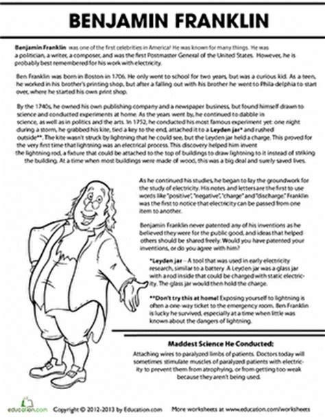 Benjamin Franklin Biography 3rd Grade | benjamin franklin biography worksheet education com