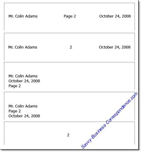 business letter header second page page business letter