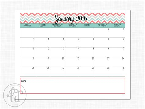 personalized calendar template january 2016 calendar printable template 2017 printable