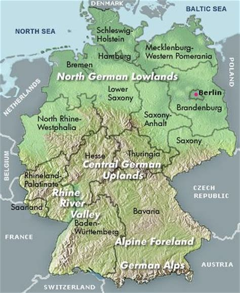 german physical map geography of germany