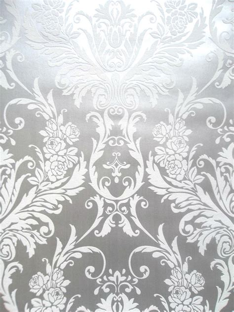 luxury grey wallpaper uk medina white silver metallic damask feature wallpaper by