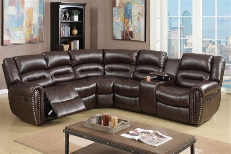 Sectionals With Recliners In Them Brown Leather Reclining Sectional A Sofa Furniture Outlet Los Angeles Ca
