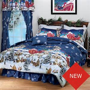 christmas night santa holiday bedding comforter bed set ebay
