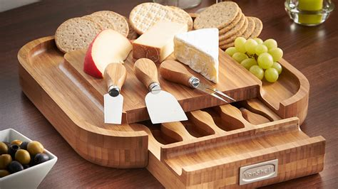 Kitchen Knive Sets by Vonshef Square Bamboo Cheese Board Amp 4 Piece Knife Set