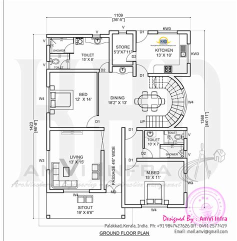 ground floor plan elevation and free floor plan kerala home design and