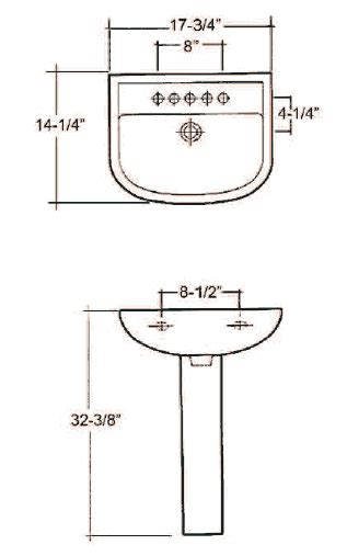 Pedestal Sink Dimensions Mounting Bolts Height View Compact Pedestal Sink