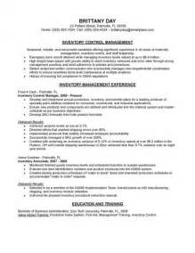 Sample inventory control manager resume