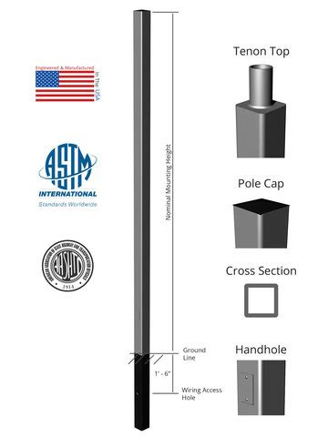 direct burial light pole 18 above grade x 4 0in od x 0 188in square