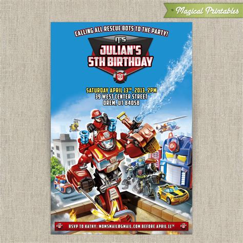 printable rescue bots birthday invitations personalized transformers rescue bots birthday invitation card
