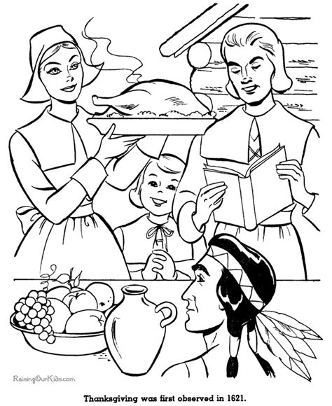 coloring pictures of thanksgiving dinner first thanksgiving dinner coloring pictures 021