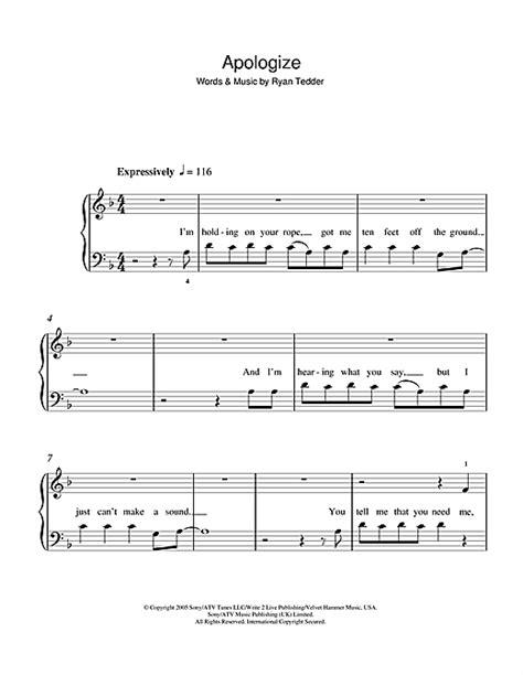 Apologize partition par OneRepublic (Initiation au piano