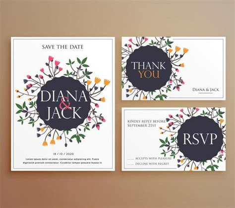 Wedding Invitation Card Decorations by Set Of Wedding Invitation Card Suite With Flower