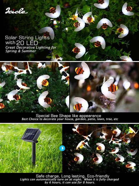 bumble bee string lights icicle solar string lights 20 led bumble bee