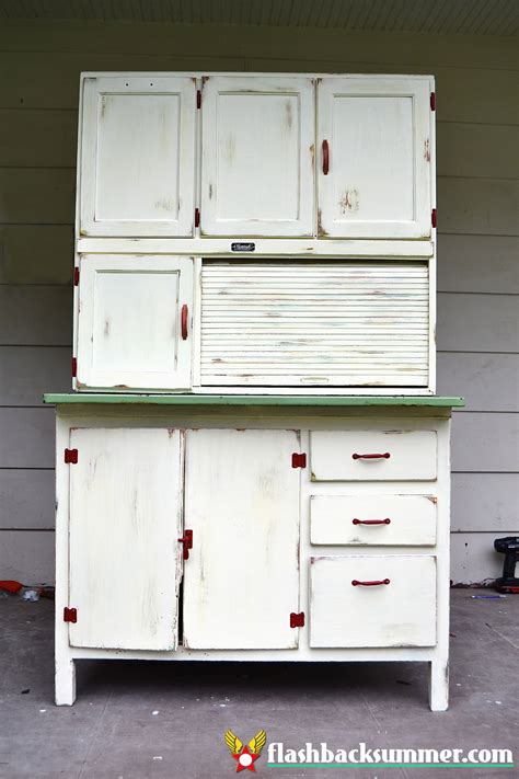 Painted Hoosier Cabinet by A Hoosier Cabinet Makeover Flashback Summer