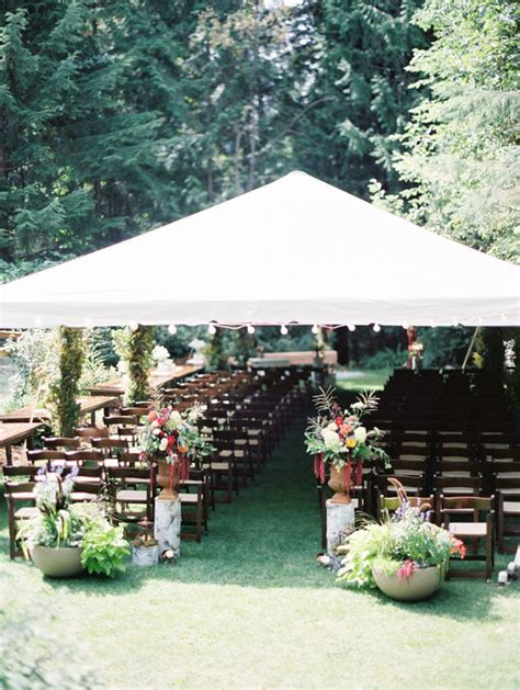 small backyard wedding ceremony backyard rustic bohemian wedding in british columbia 100