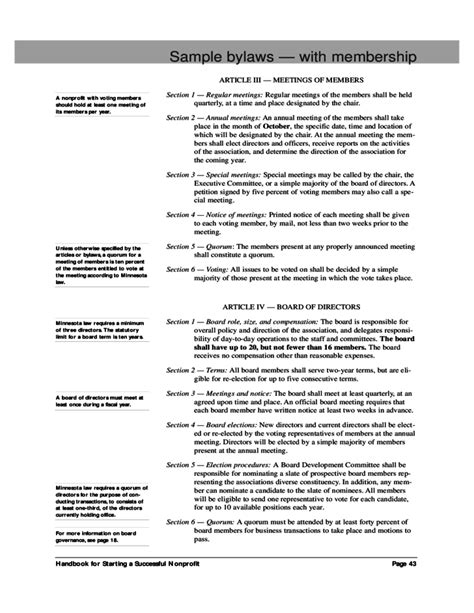 Sle Bylaws With Membership Free Download Basic Bylaws Template