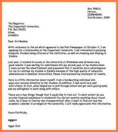 writing a cover letter for a application 8 sle of application letter for scholarship in college