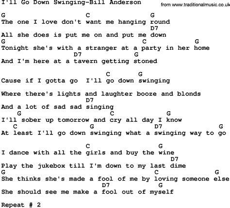 go down swinging lyrics country music i ll go down swinging bill anderson lyrics