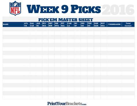 Nfl Weekly Em Spreadsheet by Nfl Week 9 Picks Master Sheet Grid