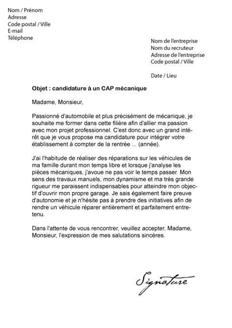 Exemple De Lettre De Motivation Mecanique Lettre De Motivation Cap M 233 Canique Mod 232 Le De Lettre