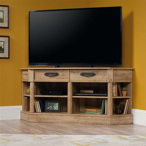 tv stand in middle of room sauder viabella corner tv stand in antigua chestnut 420758