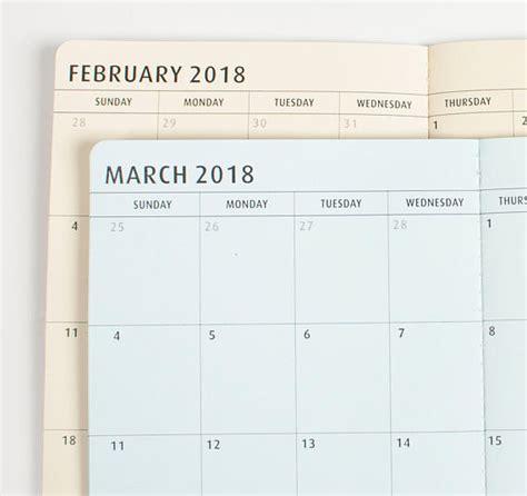 Calendar 2018 Notebook 2018 Monthly Dated Calendar Travelers Notebook Insert Midori