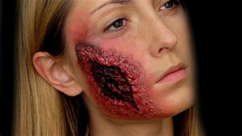 open wound on open wound and burned makeup tutorial