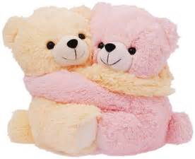 Dimpy stuff cute pink and cream bear couple soft toy pink