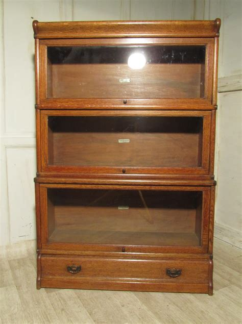 3 stack oak globe wernicke barristers bookcase or filing