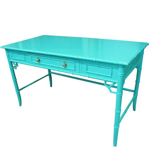 Aqua Lacquered Faux Bamboo Desk Writting Table At 1stdibs Aqua Table