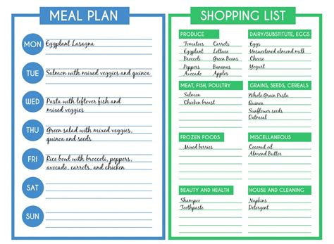 meal planner and shopping list template the 1 time saving tip for healthy pureformulas