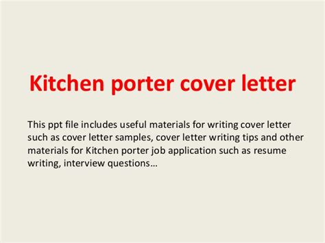 Cover Letter Sle Kitchen Porter Kitchen Porter Cover Letter
