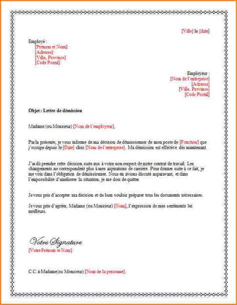 Exemple De Lettre De Demission Pour La Suisse Modele Contrat De Travail Intermittent Document
